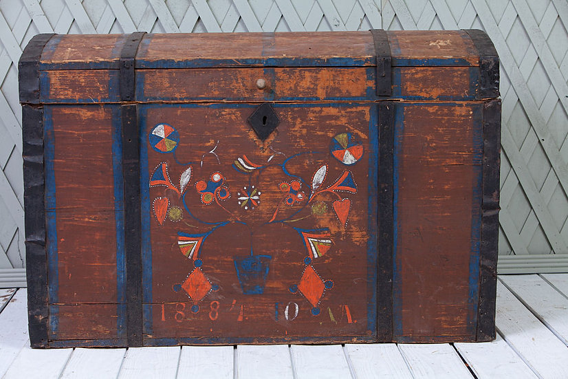 Antique Swedish Trunk with Orange and blue detail