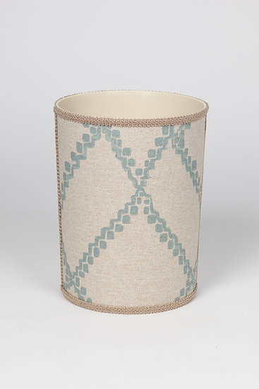 Duck Egg Blue and White Waste Basket