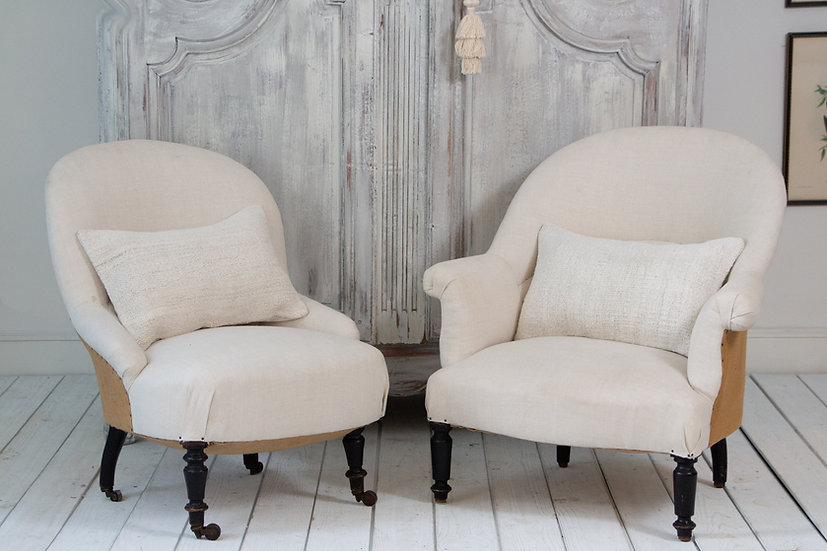 Pair of Nubby European Hemp cushions with oatmeal tones