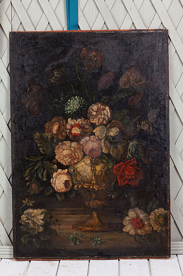 Large romantic oil painting of flowers