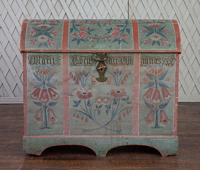 Antique Norwegian hand-painted Trunk