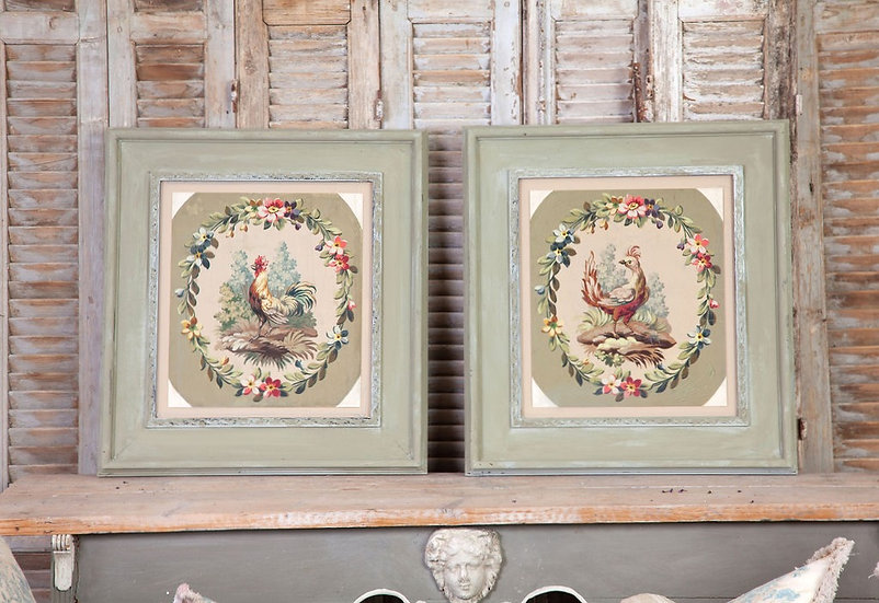 A charming pair of French watercolour original 1850 carton paintings