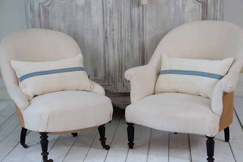 Pair of Nubby Grainsack European Textile Cushions with indigo blue & black strip