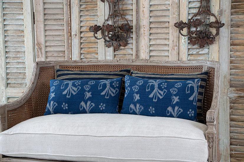 Indigo blue antique Kasuri woven cushions