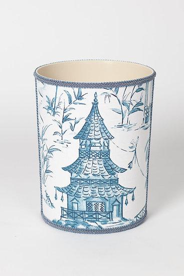 Blue Toile Waste Basket