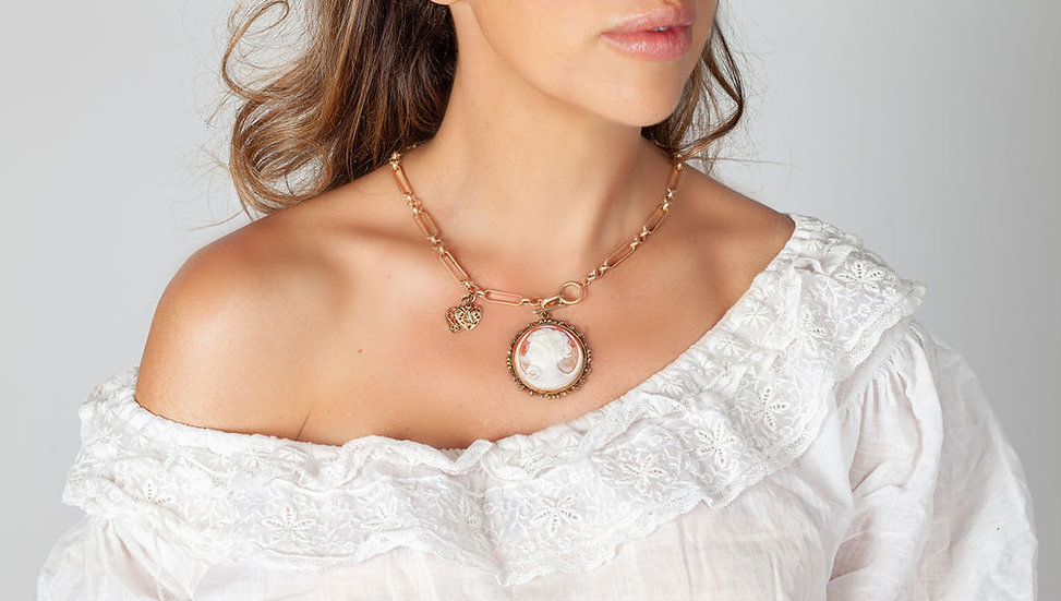 Fabulous Coral Cameo on gold chain