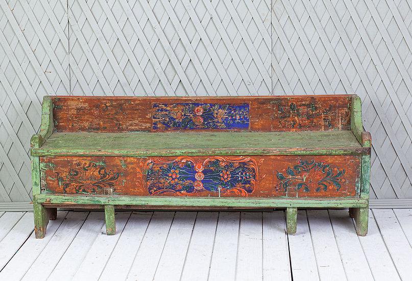 Antique original Swedish floral bench