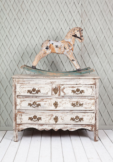 Antique French White Painted Oak Chest of Drawers