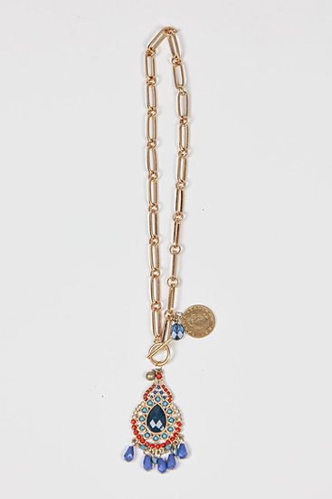 Antique blue Paloma necklace on gold chain with coin and gem pendants