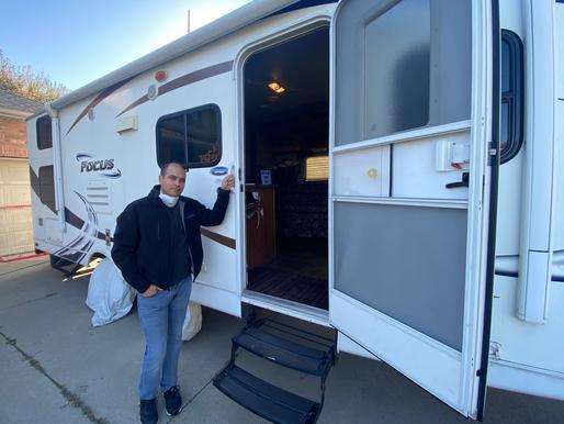 Quarantine trailer serves as firm's temporary headquarters