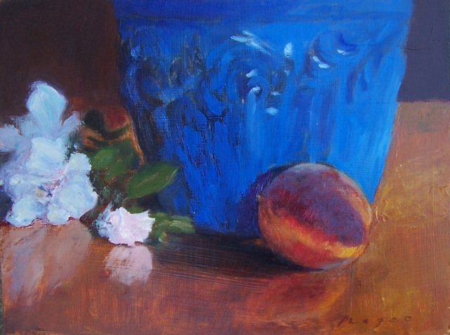peach with blue urn