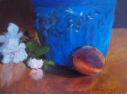 peach with blue urn