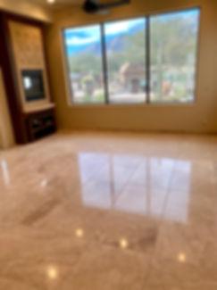 Limestone floor after diamond polishing