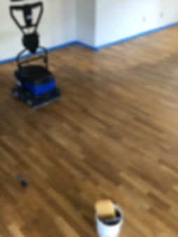 During Hard wood floor refinish Bona Rec