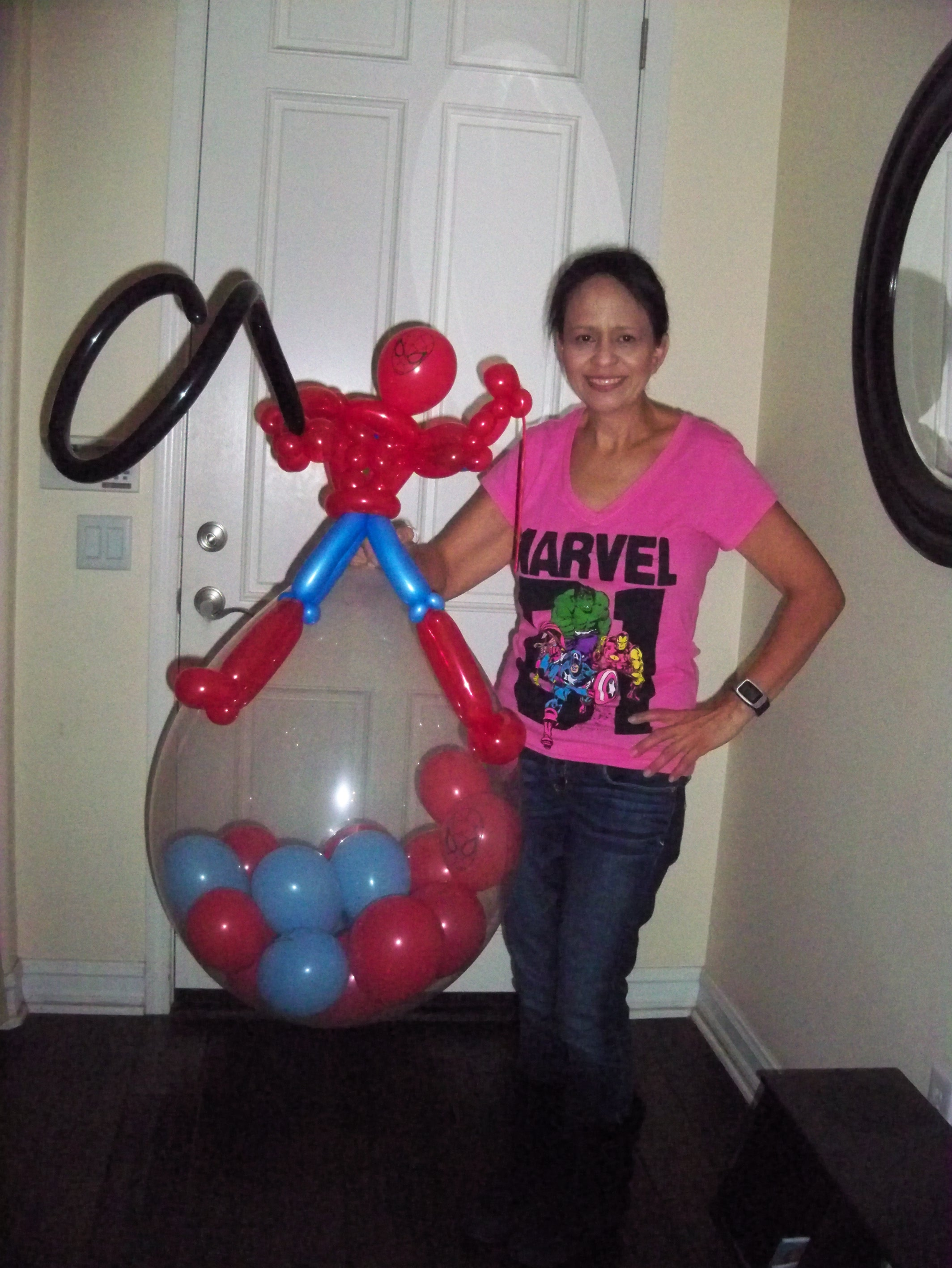 Spiderman figure and stuffed balloon