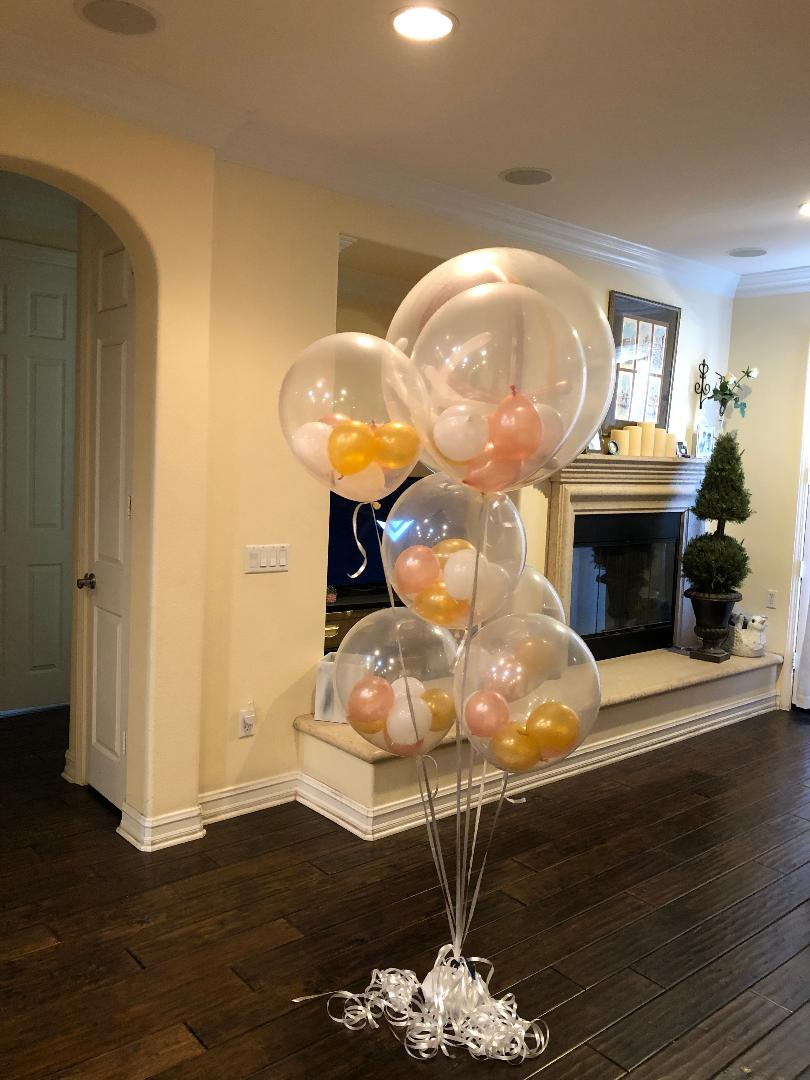 Stuffed Clear Balloons Bouquet