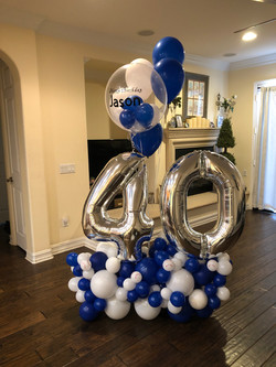 Number 40 with Personalized Balloon