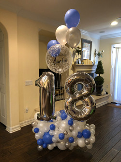 Number 18 with Personalized Clear Balloon