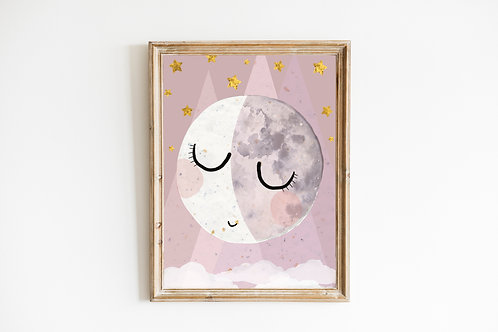 Pink sleepy Moon print