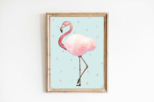 Candy floss Flamingo print