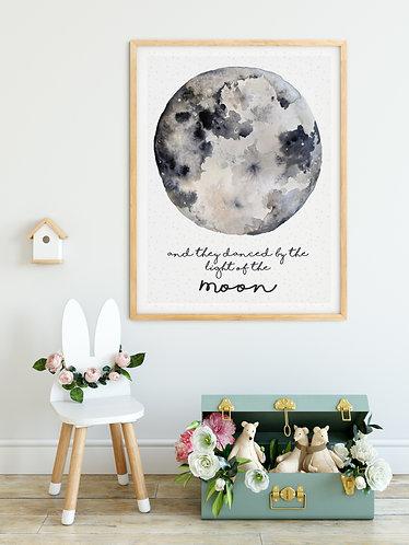 Personalised Watercolour Moon print