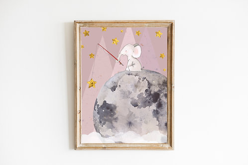 Pink Fishing for stars Print
