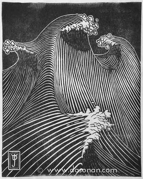 Wave Dream #2 - Lino Cut Print (Limited Edition: 200)