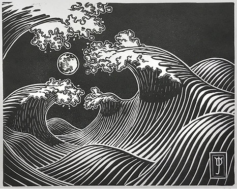 Wave Dream #3 - Lino Cut Print (Limited Edition: 200)