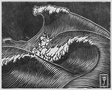 Wave Dream #1 - Lino Cut Print (Limited Edition: 200)