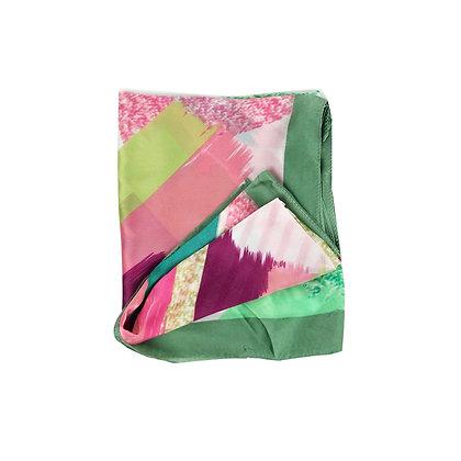 Foulard Dipinto Verde e Rosa