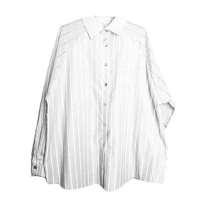 Camicia Oversize a Righe Bianca