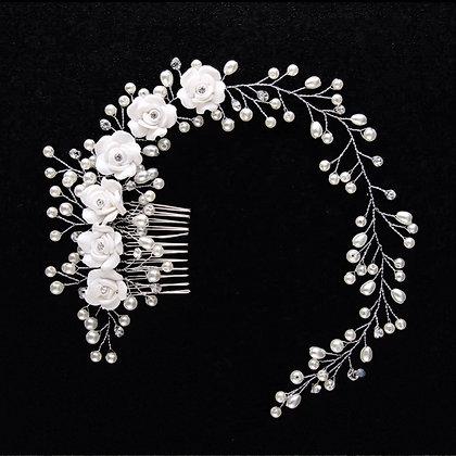 Coroncina con Fiori e Perle