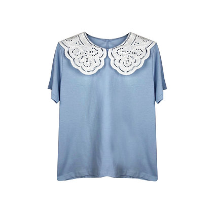 T-shirt Azzurra con Colletto