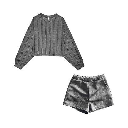 Coordinato Felpa e Shorts Grigio
