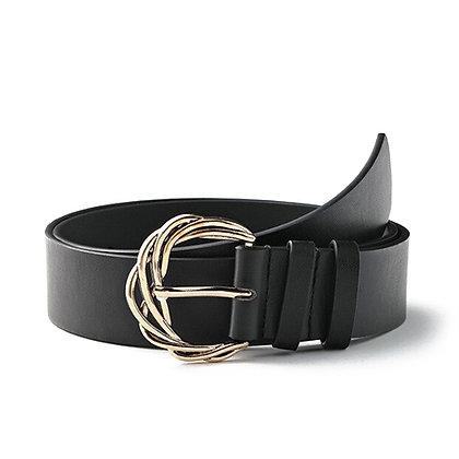 Cintura Nera Fibbia Intrecciata