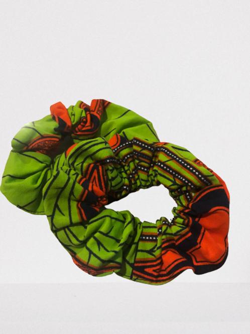 Green/  Bright Orange  Scrunchies