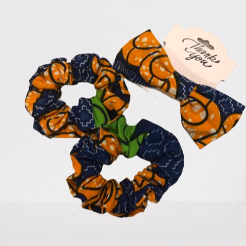 Hair  & 2 Scrunchies Set (Blue + Orange)