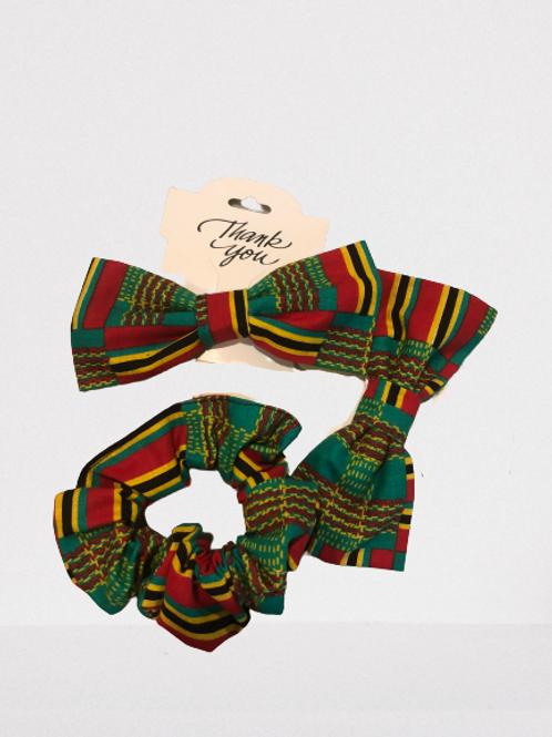 Hair Bow Tie + Scrunchie Set (Green + Red)