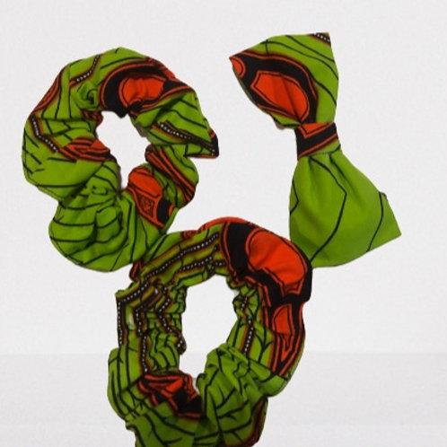 Hair Bow  + 2  Scrunchie Set (Green)