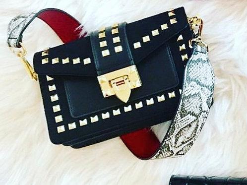 Izzy K Studded Black Bag With Snake Strap