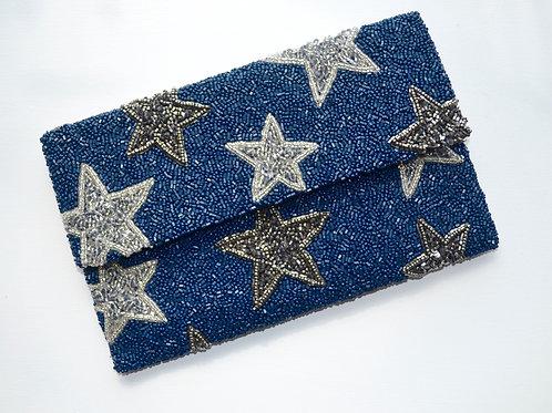 Navy Star Clutch