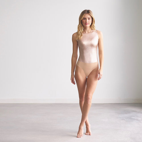 Faux Leather Body Suit Rose Gold