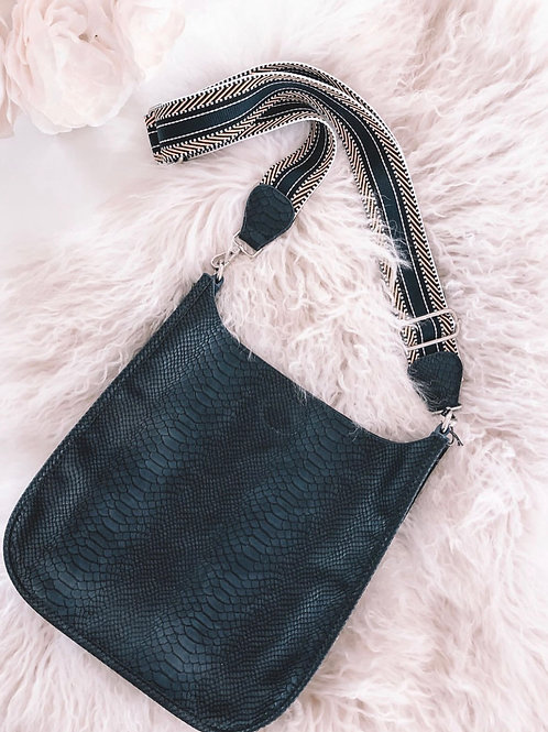 Navy Faux Snake Messenger