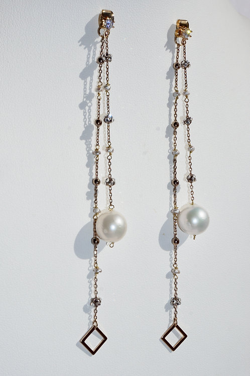 Olivia Front Back Earring with Pearl