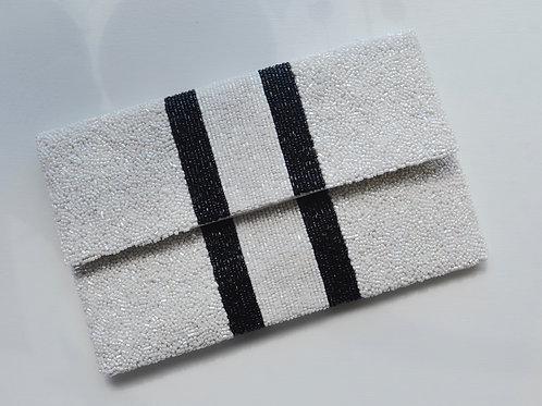 Black & White Striped Clutch
