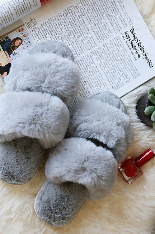 Grey Faux Fur Slippers