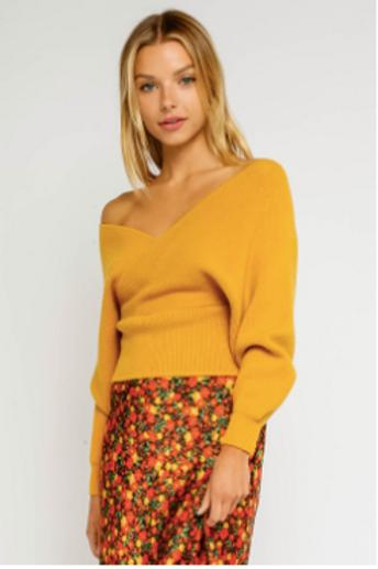 Off Shoulder Open Back Sweater