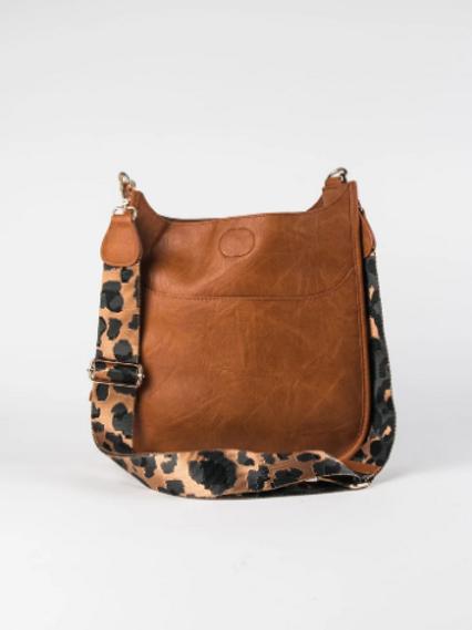 Caramel Vegan Leather Bag with Leopard Strap