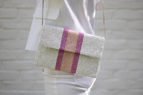 White& Pink Striped Clutch