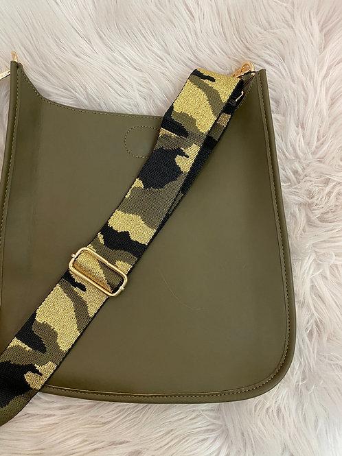 Olive vegan messenger with gold camo strap